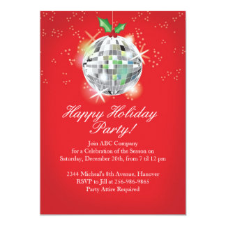 Christmas Disco Ball Party Invitations