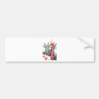 Christmas dish with berries mushrooms decoration bumper sticker
