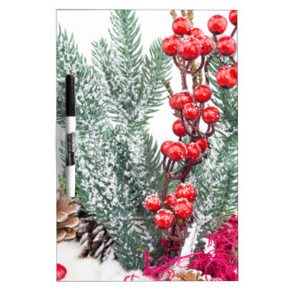 Christmas dish with berries mushrooms decoration Dry-Erase board