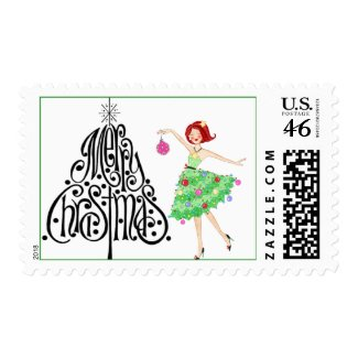 Christmas Diva postage stamp stamp