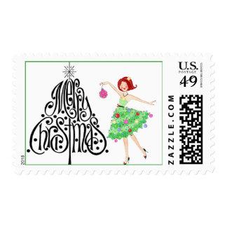 Christmas Diva postage stamp