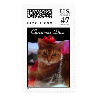 """Christmas Divat"" Cat Photography Holiday Postage"