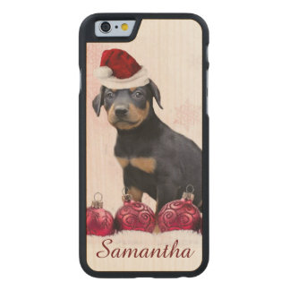 Christmas Doberman Pinscher dog Carved Maple iPhone 6 Case