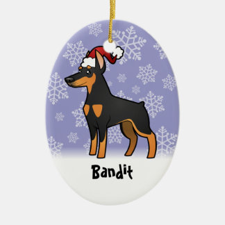 Christmas Doberman Pinscher (pointy ears) Ceramic Ornament