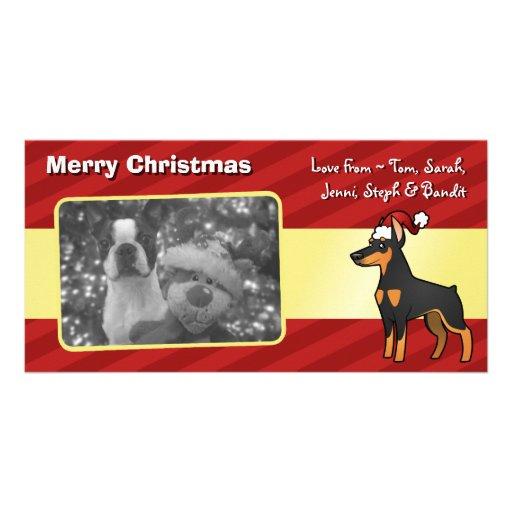 Christmas Doberman Pinscher (pointy ears) Photo Greeting Card