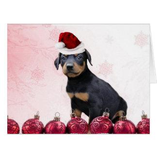 Christmas Doberman Pinscher puppy Card