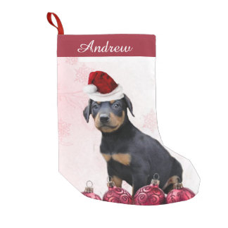 Christmas Doberman Pinscher puppy stocking Small Christmas Stocking