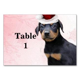 Christmas Doberman Pinscher puppy Table Card
