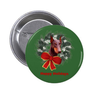 Christmas Doberman Wreath Bow Holiday Button Pin