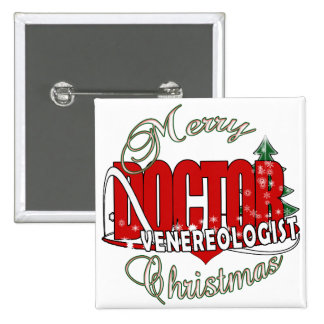 CHRISTMAS DOCTOR VENEREOLOGIST 2 INCH SQUARE BUTTON