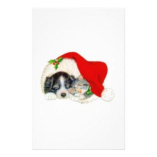 Christmas Dog and Cat Customized Stationery