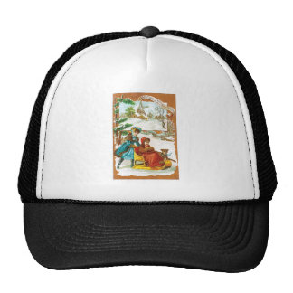 Christmas Dog and Sled Trucker Hat