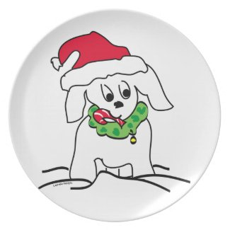Christmas Dog Art Plate