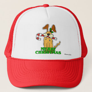 Christmas Dog & Candy Cane Trucker Hat