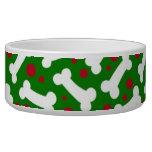 Christmas Dog Dish Bones Pet Food Bowl
