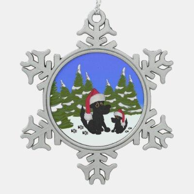 Christmas Dog Family Snowflake Pewter Christmas Ornament