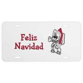 Christmas Dog Feliz Navidad License Plate
