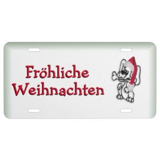 Christmas Dog Fröhliche Weihnachten License Plate