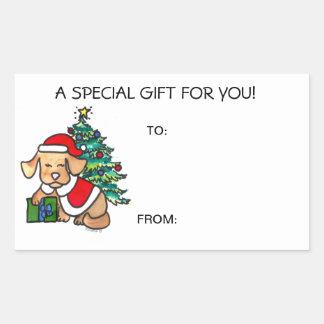 Christmas Dog Gift Tags Self Adhesive Rectangular Sticker