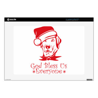 Christmas dog God bless us everyone Decal For Laptop