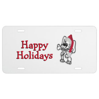 Christmas Dog Happy Holiday License Plate