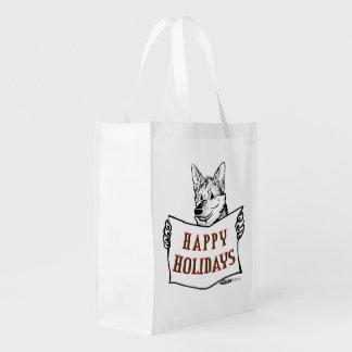 Christmas Dog:  Happy Holidays! Grocery Bag