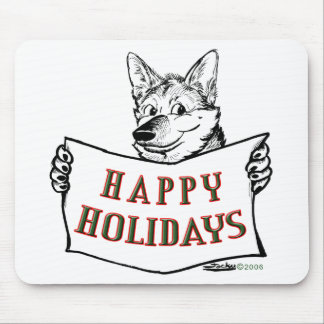 Christmas Dog:  Happy Holidays! Mouse Pad