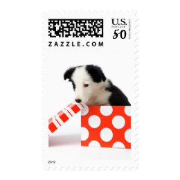 Christmas Dog In A Gift Box Postage