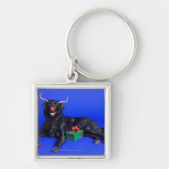 Christmas dog keychain