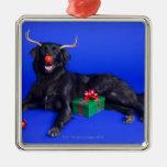 Christmas dog metal ornament