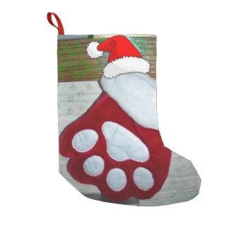 Christmas Dog Paw Small Christmas Stocking