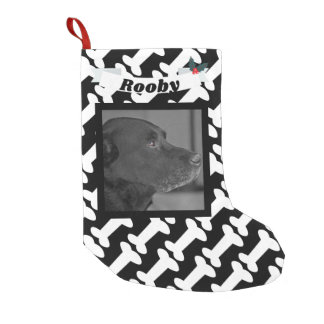 Christmas Dog Photo Black & White Bones Name Cute Small Christmas Stocking