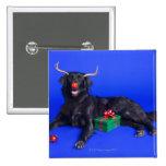 Christmas dog pinback button