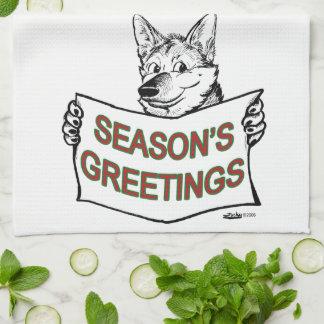 Christmas Dog:  Season's Greetings! Hand Towel