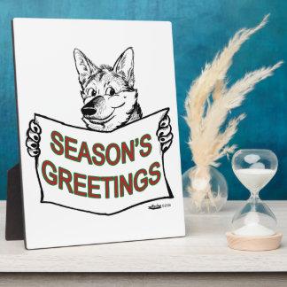 Christmas Dog:  Season's Greetings! Plaque