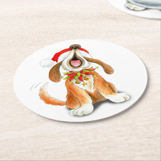 Christmas dog singing art paper coasters