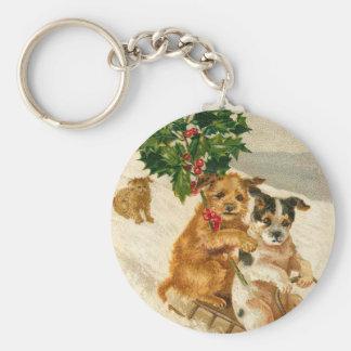 Christmas Dog Sled Basic Round Button Keychain