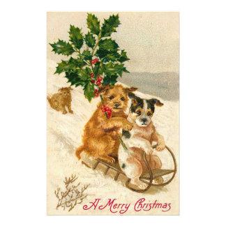 Christmas Dog Sled Stationery Paper