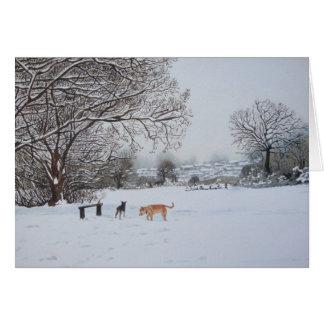 Christmas dog snow scene landscape realist art cards
