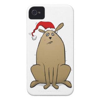 Christmas Dog Wearing Santa Hat iPhone 4 Case