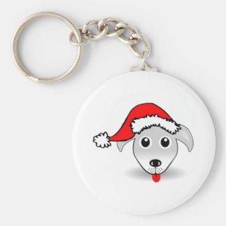 Christmas Dog Wearing Santa Hat Key Chains
