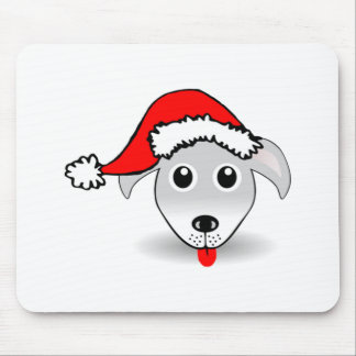 Christmas Dog Wearing Santa Hat Mouse Pads