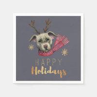 Christmas Dog with Antlers, Happy Holidays Napkin
