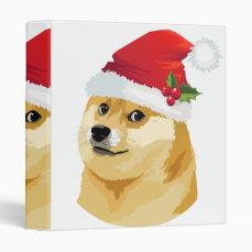 Christmas doge - santa doge - christmas dog 3 ring binder