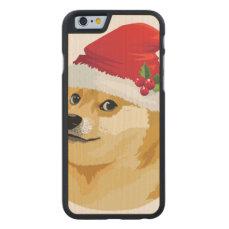 Christmas doge - santa doge - christmas dog carved maple iPhone 6 case