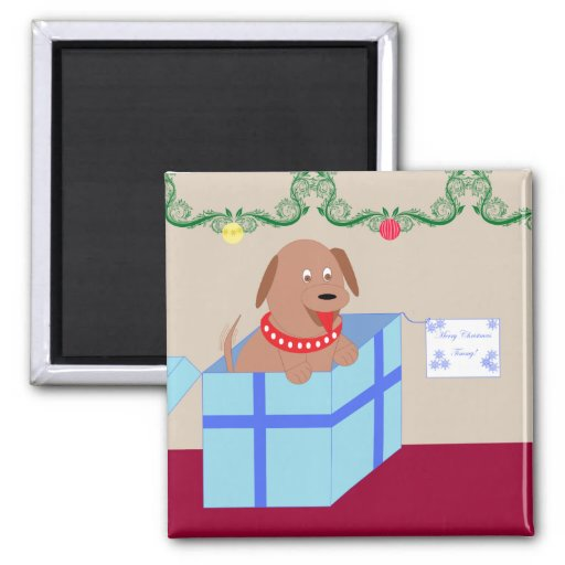 Christmas Doggy 2 Inch Square Magnet