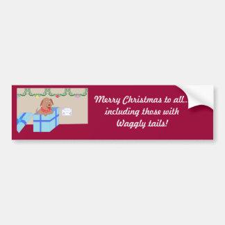 Christmas Doggy Car Bumper Sticker