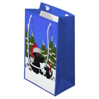 Christmas Dogs Blue Small Gift Bag
