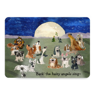 "Christmas Dogs Cartoon Card  5"" x 7"" Invitations"