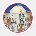 Christmas Dogs Cartoon Round Sticker Envelope Seal